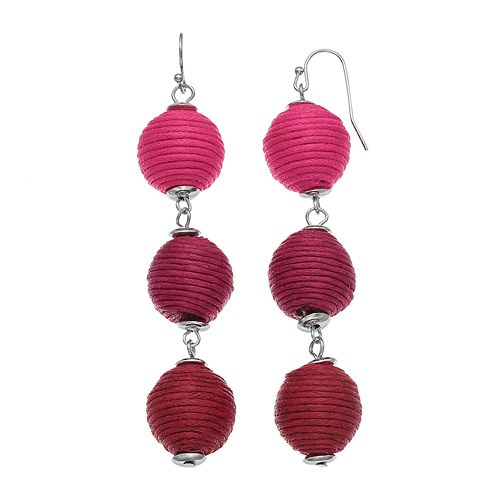 Ombre Thread Wrapped Ball Nickel Free Drop Earrings