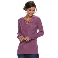 Women's Apt. 9® Crisscross Ribbed Sweater