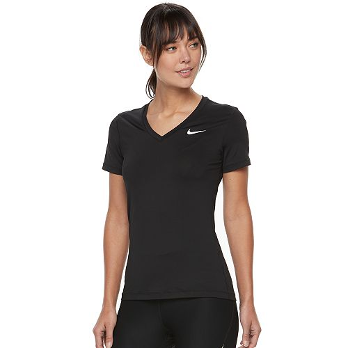Nike Victory Short Sleeve V Neck Top Ladies Black Close
