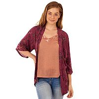 Juniors' Wallflower Velvet Trim Tank & Kimono Set
