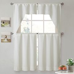 VCNY 4-piece Noelle Tier & Valance Kitchen Window Curtain Set