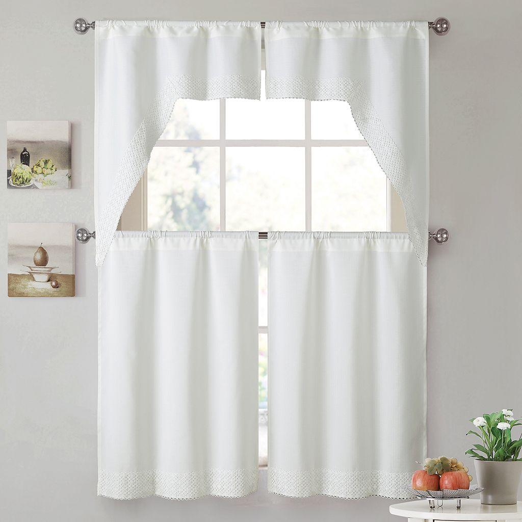 VCNY 4-piece Noelle Tier & Valance Kitchen Window Curtain Set