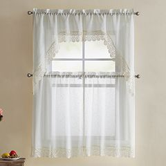 VCNY 4-piece Galiana Lace Tier & Valance Kitchen Window Curtain Set