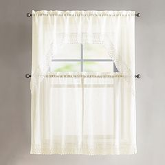 VCNY 4-piece Farrah Lace Tier & Valance Kitchen Window Curtain Set
