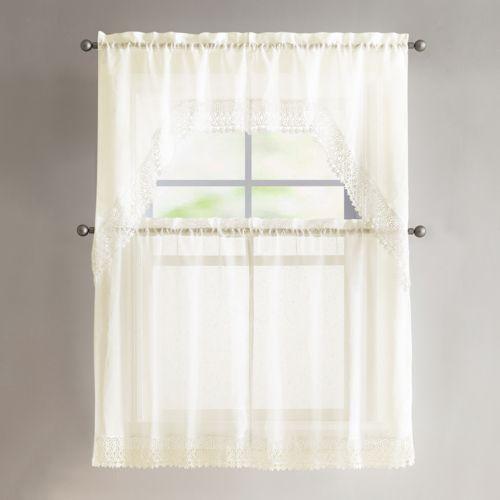 VCNY 4-piece Farrah Lace Tier & Valance Kitchen Window