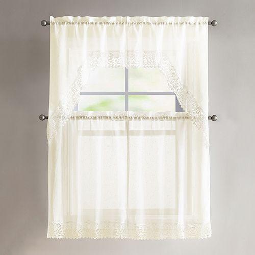 VCNY 4-piece Farrah Lace Tier & Valance Kitchen Window Curtain Set
