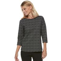 Petite Croft & Barrow® Print Boatneck Top