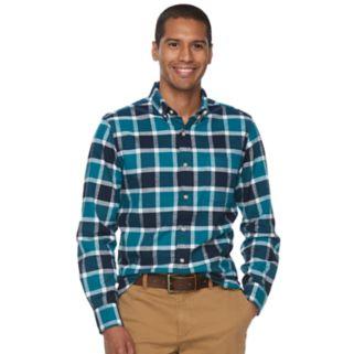 Men's SONOMA Goods for Life™ Flexwear Slim-Fit Plaid Oxford Button-Down Shirt