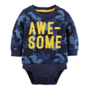 "Baby Boy Carter's ""Awesome"" Dinosaur Camo Mock-Layered Bodysuit"