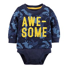 Baby Boy Carter's 'Awesome' Dinosaur Camo Mock-Layered Bodysuit