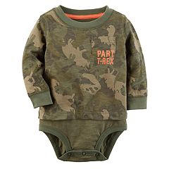 Baby Boy Carter's 'Part T-Rex' Dinosaur Camo Mock-Layered Bodysuit