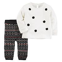 Baby Girl Carter's Pom Pom Sweater & Fairisle Leggings Set