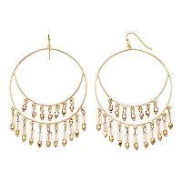 Jennifer Lopez Tiered Fringe Nickel Free Hoop Drop Earrings