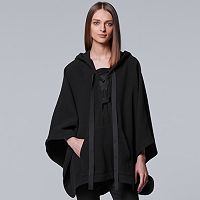 Women's Simply Vera Vera Wang 10th Anniversary Lace-Up Wool Blend Poncho Sweater
