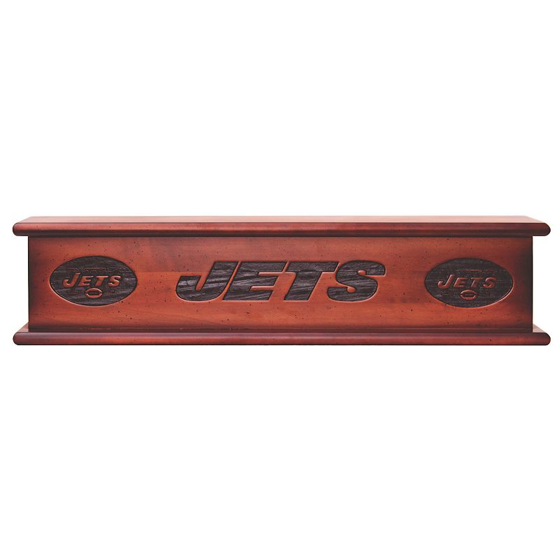 """New York Jets 20"""" Memorabilia Shelf. Brown"""