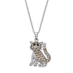 Silver Plated Crystal Cat Pendant Necklace