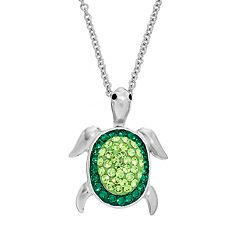 Silver Plated Crystal Turtle Pendant Necklace