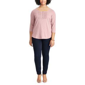 Plus Size Chaps Cotton Pintuck Lace Bib Top