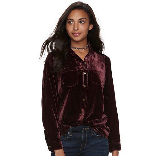 fashion design top design new products for Women's SONOMA Goods for Life™ Velvet Shirt