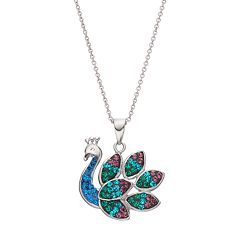 Silver Plated Crystal Peacock Pendant Necklace