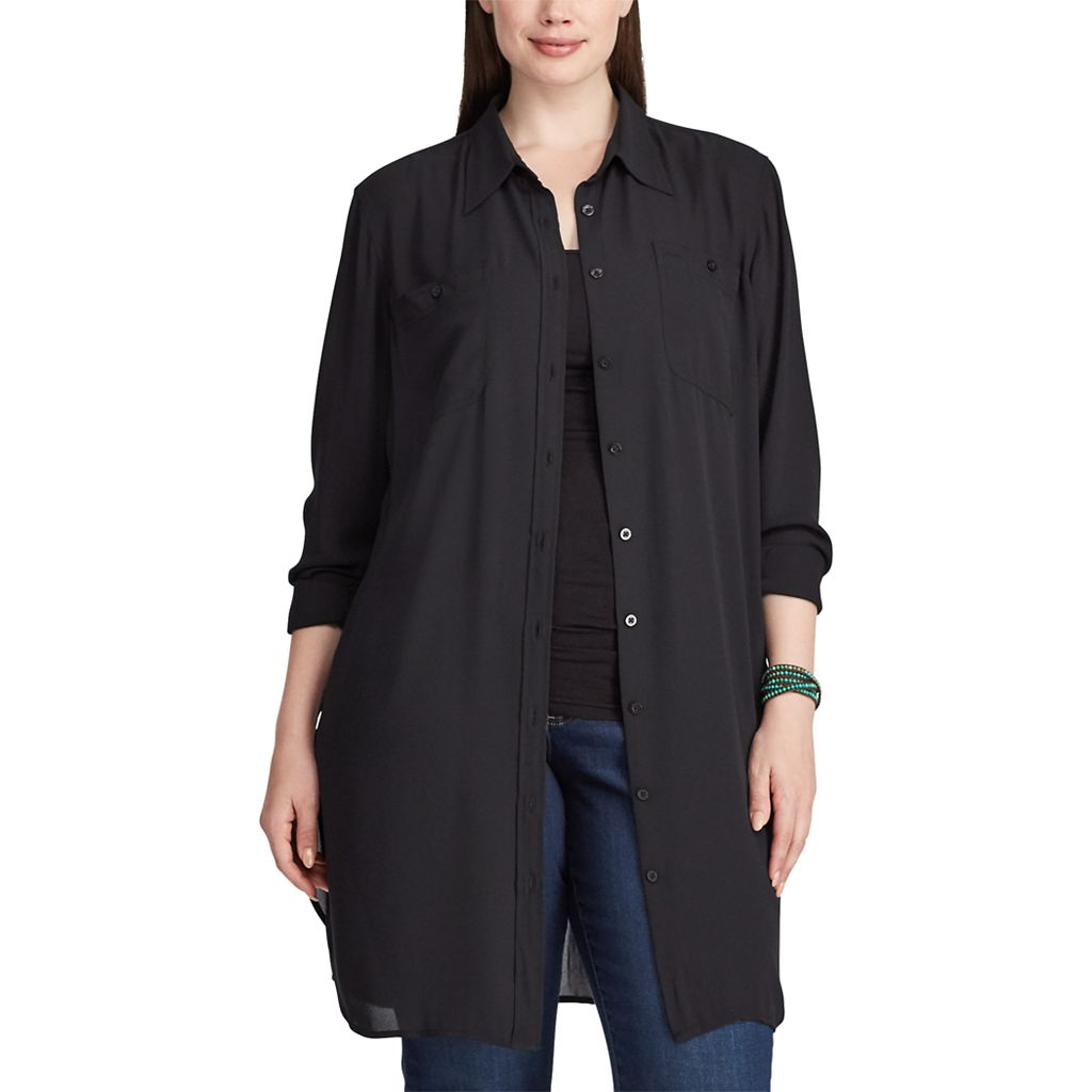 Plus Size Chaps Georgette Button-Up Tunic