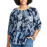 Plus Size Chaps Cotton Raglan Peasant Top