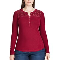 Plus Size Chaps Lace Yoke Henley Shirt