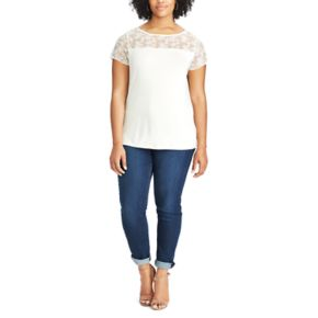 Plus Size Chaps Knit Lace Short Sleeve Tee