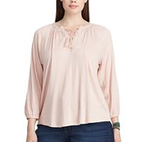 Plus Size Chaps Crinkled Crepe Peasant Top