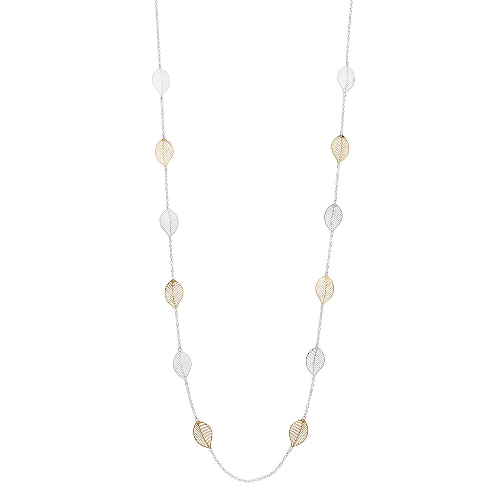 LC Lauren Conrad Long Two Tone Leaf Station Necklace