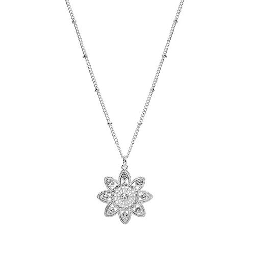 LC Lauren Conrad Long Milgrain Flower Pendant Necklace