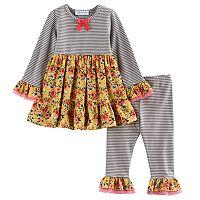Toddler Girl Bonnie Jean Flower & Stripe Tunic & Leggings Set
