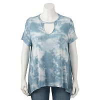 Juniors' Plus Size Mudd® Choker Neck Tee