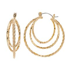 Jennifer Lopez Gold Tone Nickel Free Twisted Triple Hoop Earrings