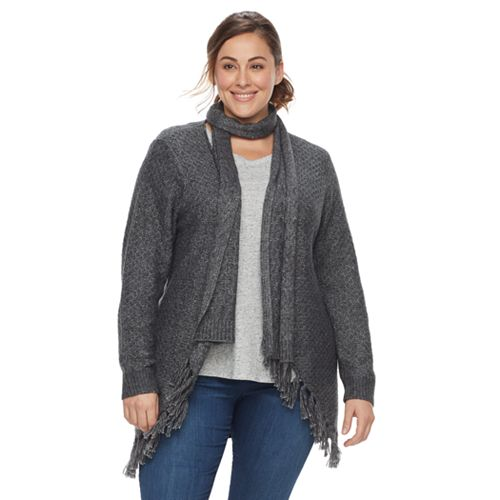 Plus Size SONOMA Goods for Life™ Scarf Cardigan Sweater