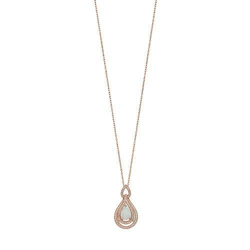 14k Rose Gold Over Silver Lab-Created Opal & White Sapphire Teardrop Pendant