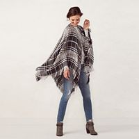 LC Lauren Conrad Space-Dyed Plaid Ruana