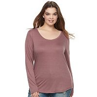 Juniors' Plus Size Mudd® Scoopneck Tee