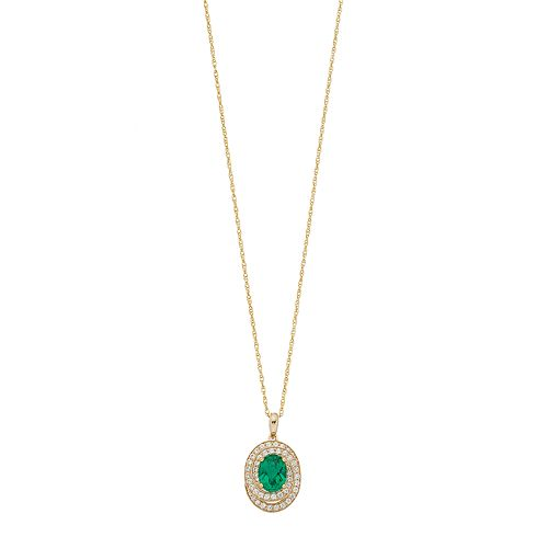 14k Gold Over Silver Lab-Created Emerald & White Sapphire Oval Pendant