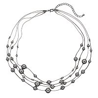 Four Row Beaded Illusion Necklace