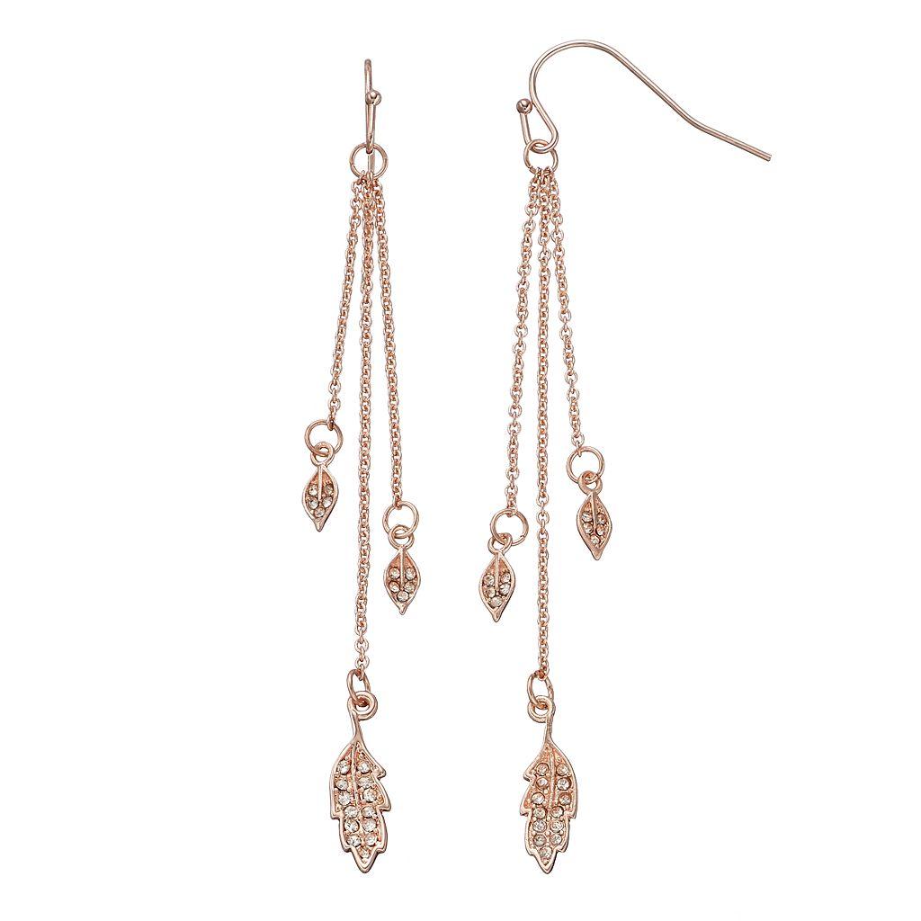 LC Lauren Conrad Triple Leaf Chain Nickel Free Linear Drop Earrings