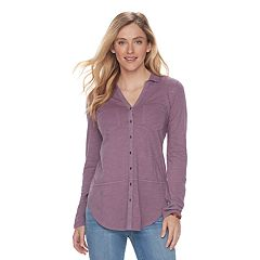 Womens Purple Button-Down Shirts Shirts & Blouses - Tops, Clothing ...