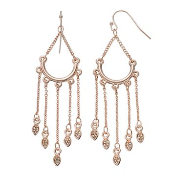 LC Lauren Conrad Leaf Nickel Free Chandelier Earrings