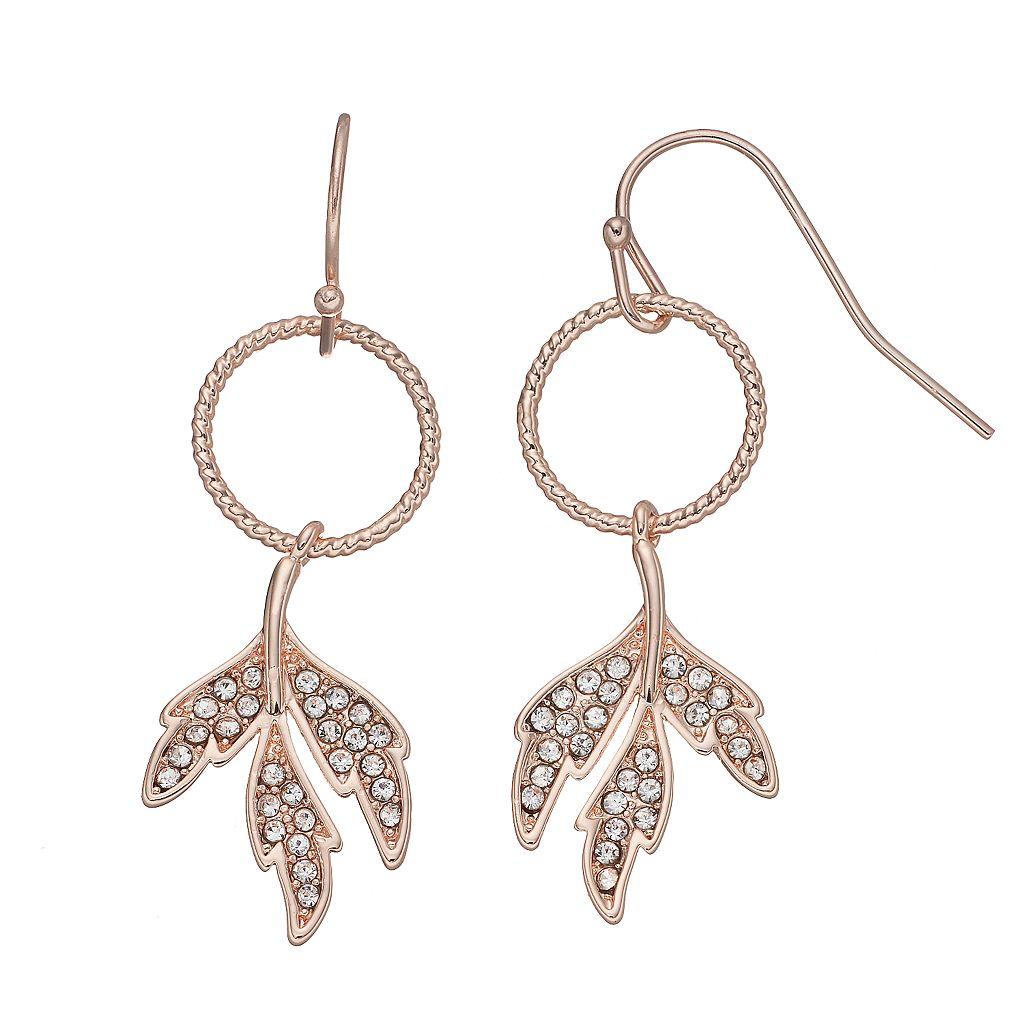 LC Lauren Conrad Leaf Circle Nickel Free Drop Earrings