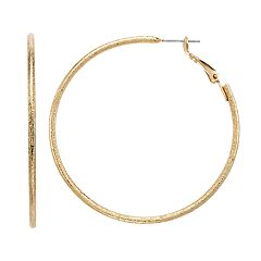 Jennifer Lopez Gold Tone Nickel Free Glittery Hoop Earrings