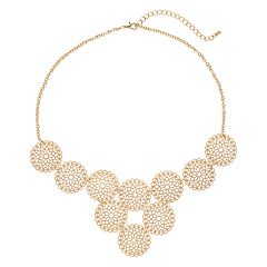 Gold Tone Filigree Circle Necklace