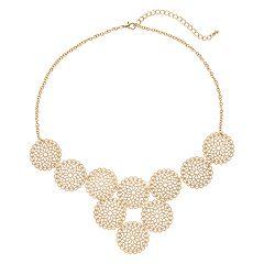 Gold Tone Filigree Circle Necklace
