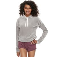 Juniors' SO® Cropped Velour Hoodie