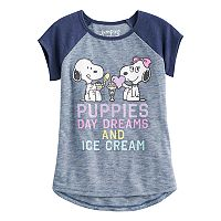 Girls 4-10 Jumping Beans® Peanuts Snoopy & Belle Raglan Short-Sleeved Tee