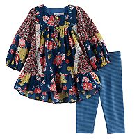 Toddler Girl Bonnie Jean Floral Woven Top & Striped Leggings Set